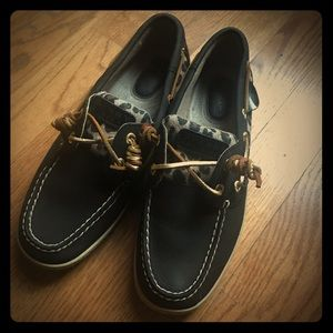 Sperry TopSider black leather with leopard print 7